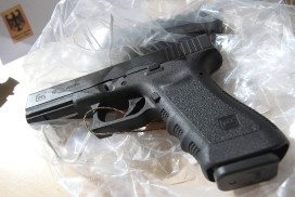 A gun of the type Glock 17 seized by the police in connection with the detention of a dealer involved in the July rampage in a Munich shopping centre