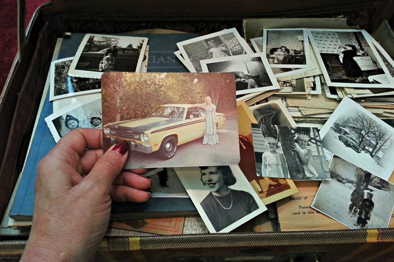 A box full of old photographs