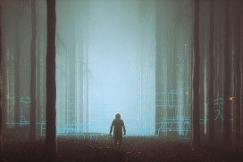 Foggy background forest with outline of child in the foreground
