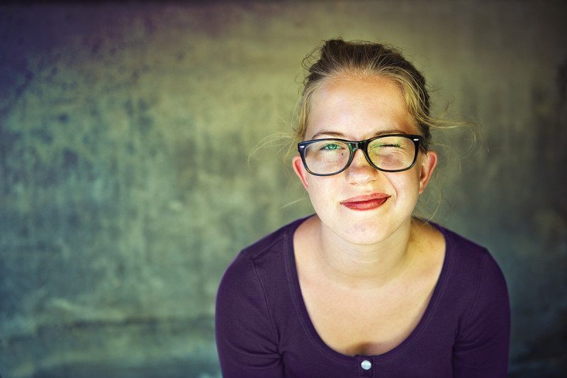 person wearing glasses