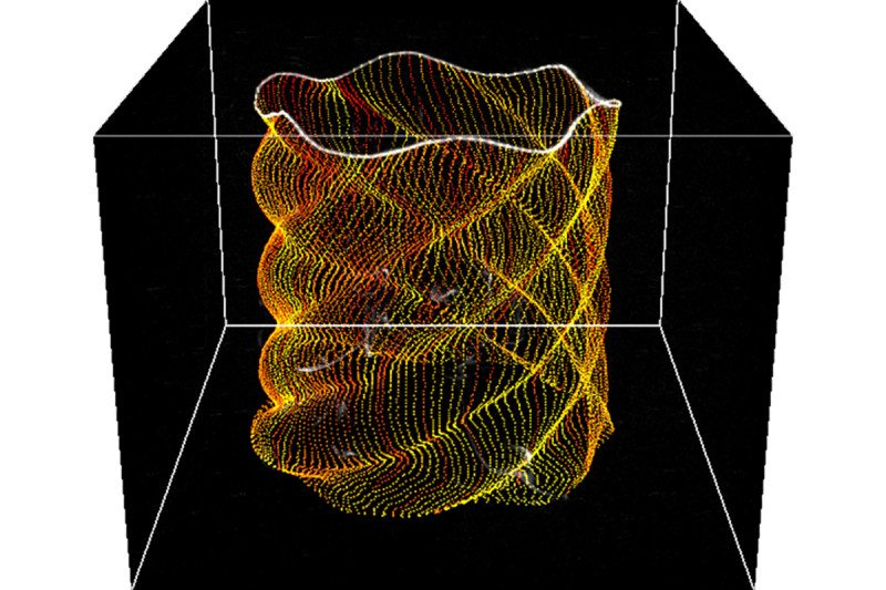 Two spiral vortices leapfrogging one another, shown as glowing lines of particles