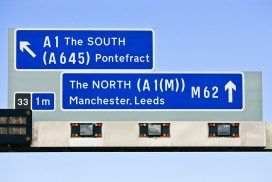 Road signs to north and south of England
