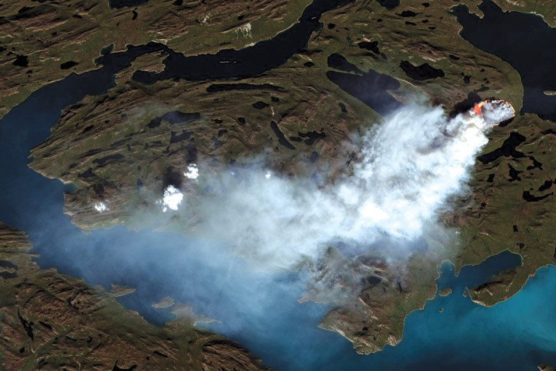 Smoke from the Greenland fire seen in satellite images