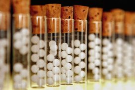 Vials of homeopathic products