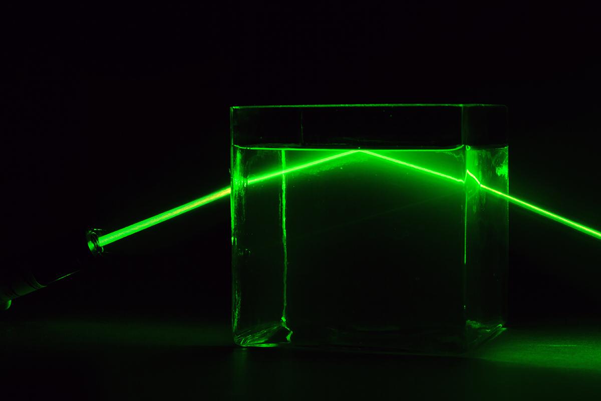 laser travelling through water