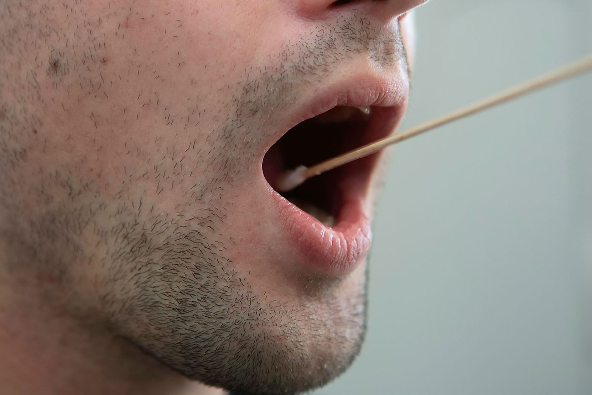 Swabbing a person's mouth