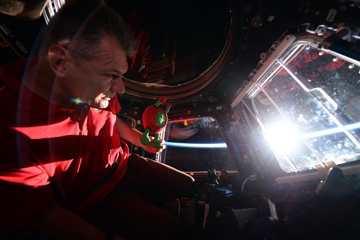 Paolo Nespoli looking out