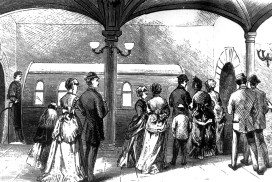 Black and white illustration of people getting into a cylindrical carriage