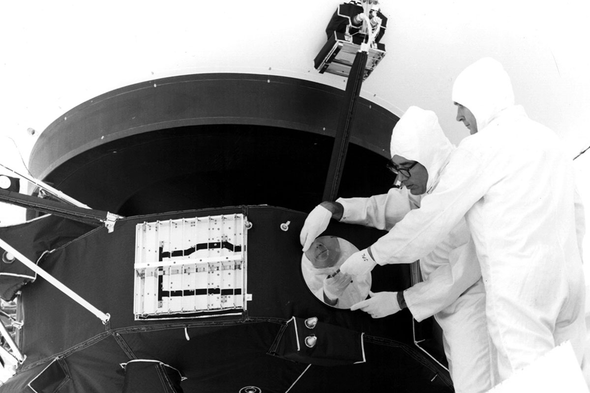 A record being mounted on the spacecraft