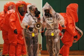 People in biosafety suits
