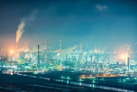 Japanese industrial facilities at night