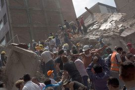Rescuers work in the rubble after a magnitude 7.1 earthquake struck on September 19, 2017 in Mexico City, Mexico
