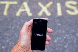 Using uber on a smartphone