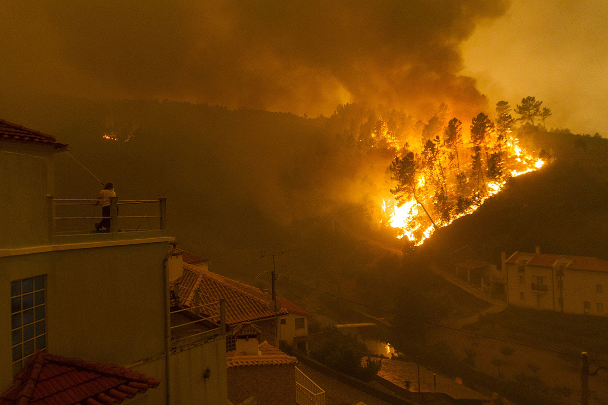 A raging wildfire in Leiria, Portugal, this summer