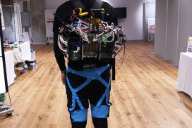 The body suit and pack designed at Panasonic Research