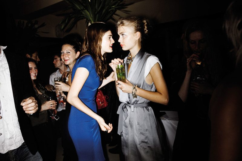 Two young women at party