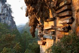 Hanging coffins near the mountain village of Sagada in the Philippines