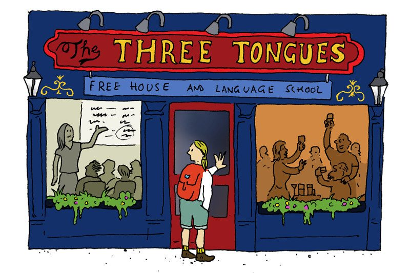 Three tongues cartoon