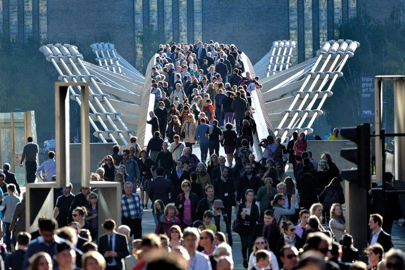 crowded bridge