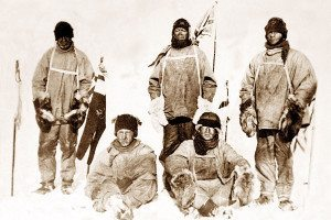 Scott's team of five standing at the pole on 18 January 1912, immediately following their discovery that they were not the first to arrive