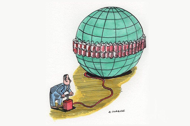 blown up world cartoon