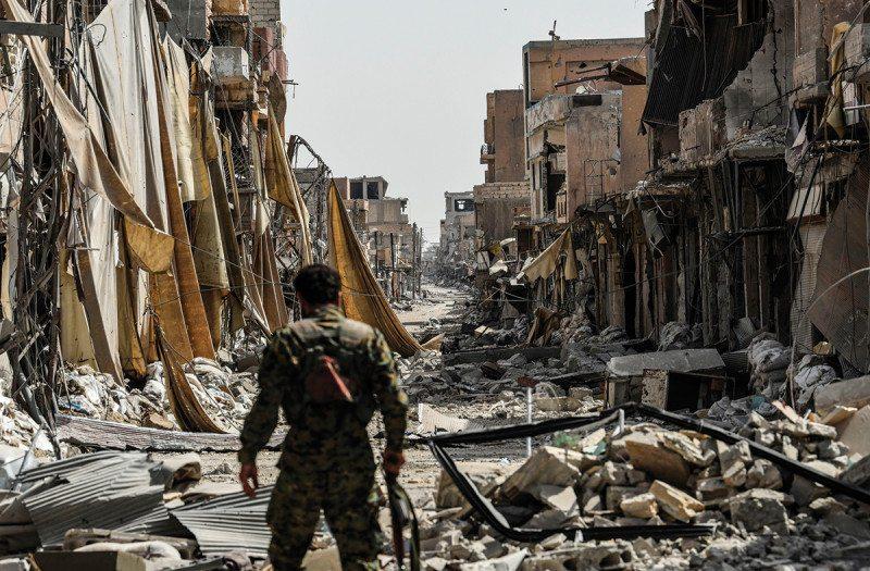 bombed street