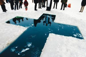 cross in ice