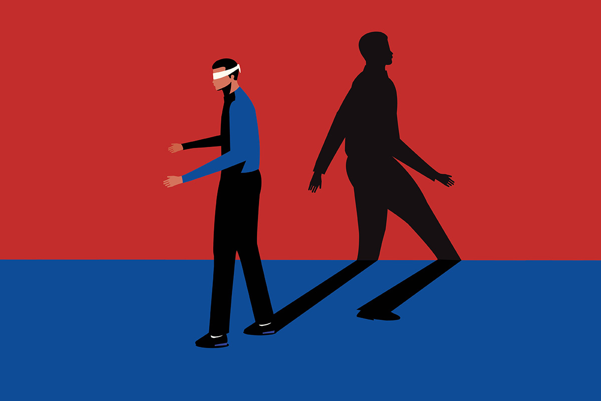 Illustration of blindfolded man with a shadow walking confidently in the opposite direction