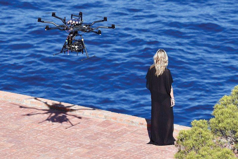 woman filmed by drone