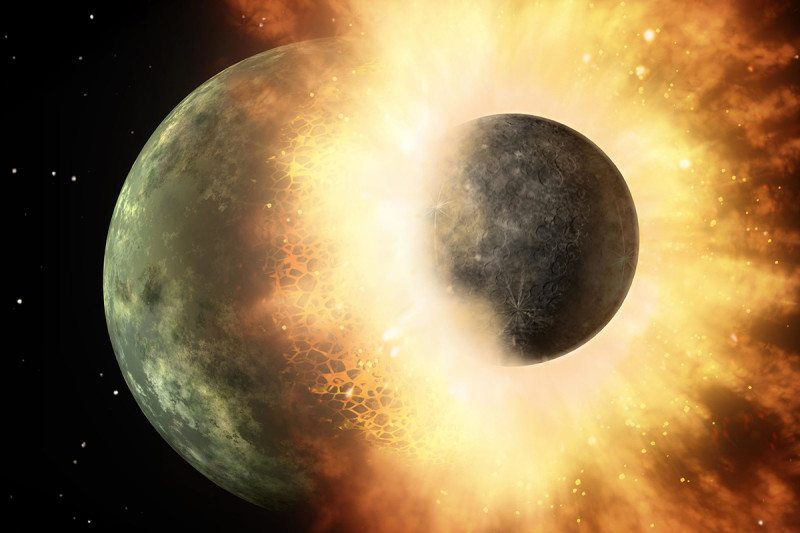 The moon was formed in a relatively small smashup