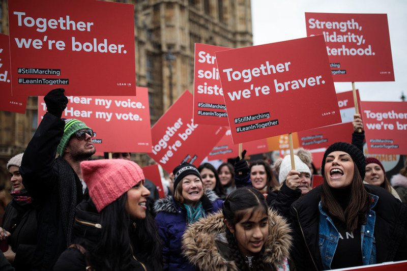 Demonstrators at a March4Women event outside the Houses of Parliament in London