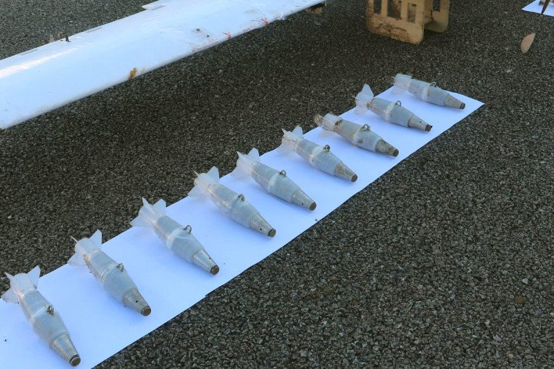 Home-made bombs carried by drones that attacked a Russian airbase