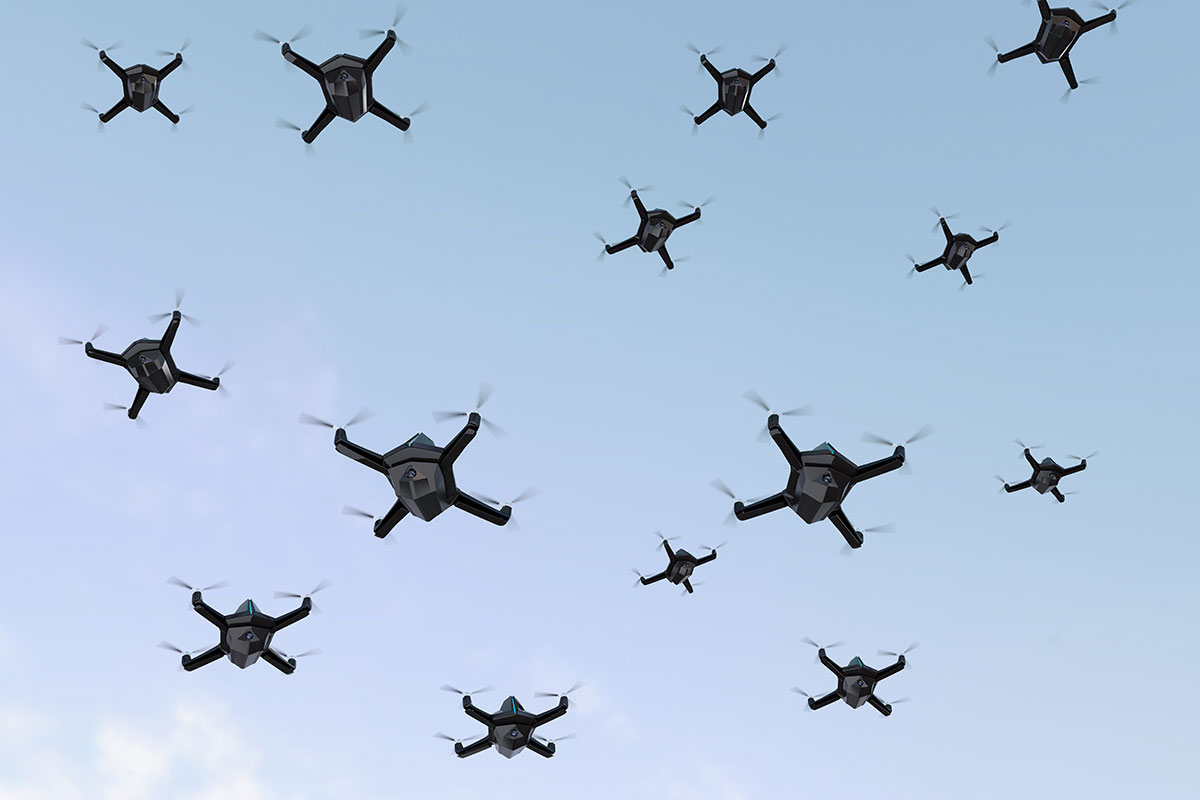 A swarm of home-made drones has bombed a Russian airbase