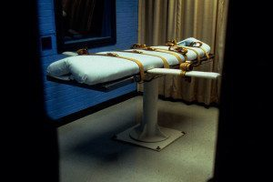 A restraining bed for an execution