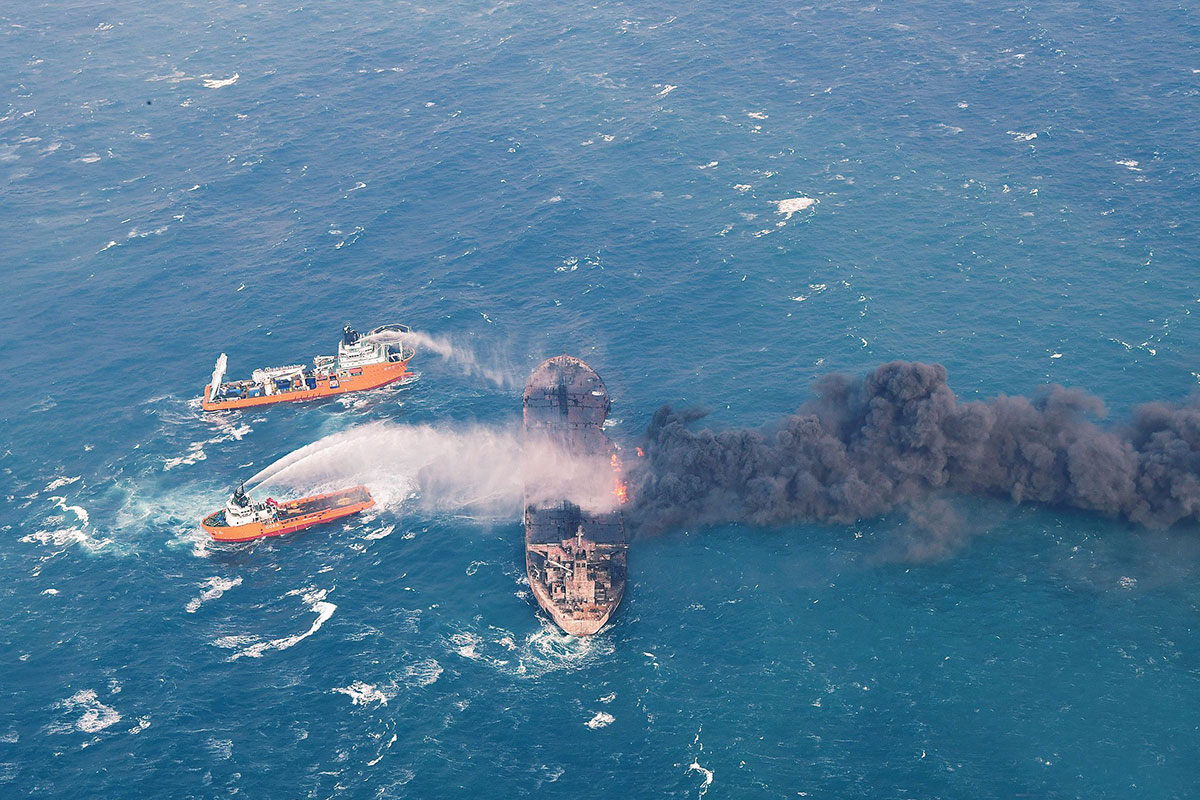 The stricken oil tanker Sanchi has leaked oil condensate into the East China Sea