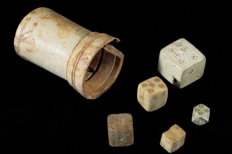 A selection of dice from archaeological digs