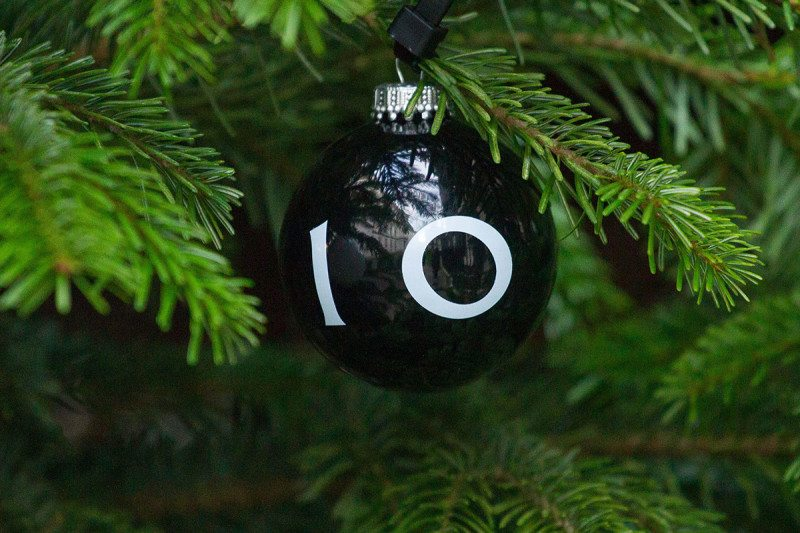 Number 10 on Xmas decoration