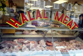 A butcher's selling halal meat