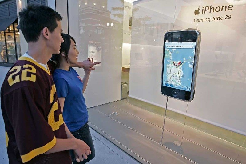 Giant iPhone in shop display