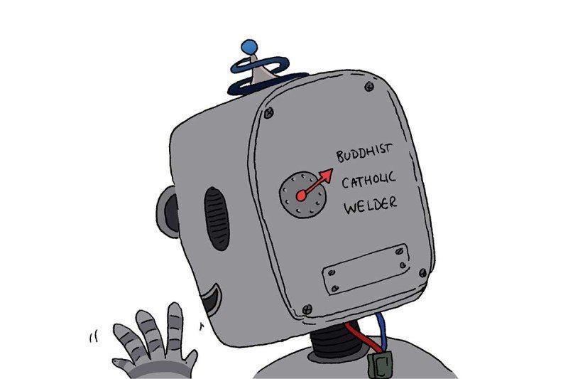 robot priest cartoon