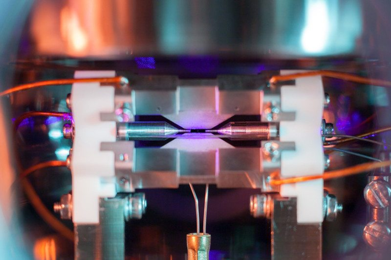 Electrodes two millimetres apart trap a single atom