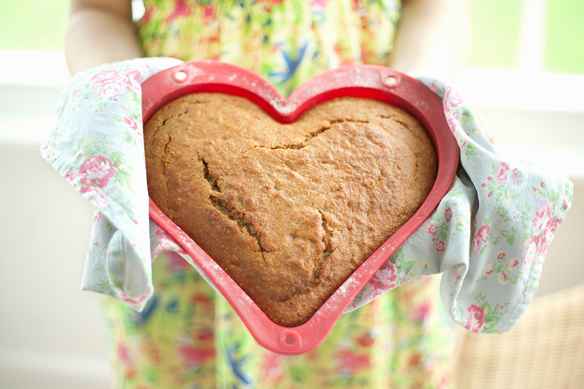 A heart-shaped cake