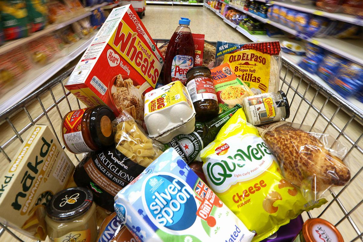 Food in supermarket trolley