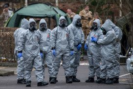 Military personnel investigating the poisoning of Sergei Skripal on 11 March in Salisbury