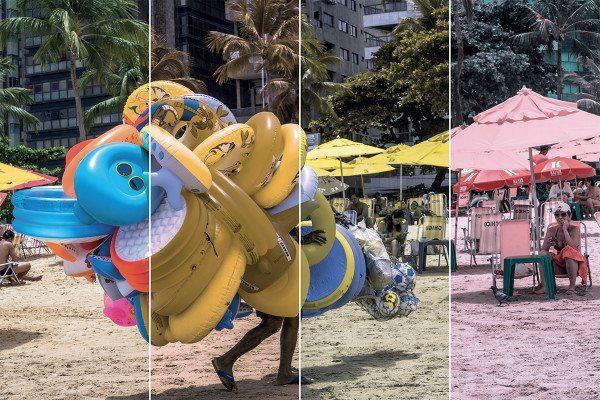 Beach scenes take on a different vibe when you're colour blind. Left to right: Full colour vision, deuteranopia, tritanopia, protanopia