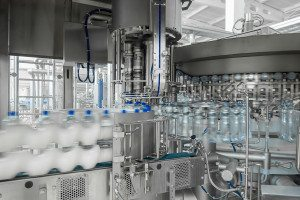 Bottled water in a factory