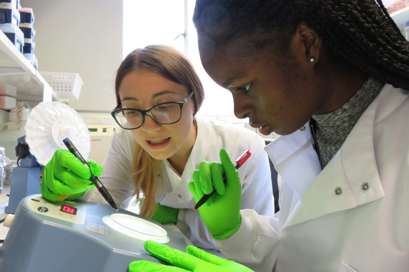 Two young women in a lab wearing white coats and holding pens