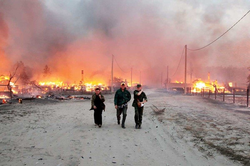 Forest fires engulfed homes when a heatwave hit Russia in 2010