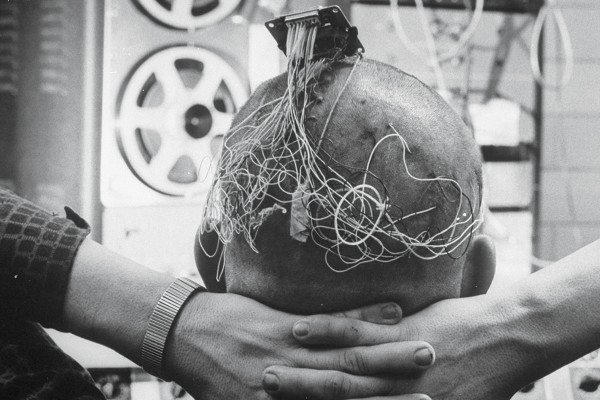 patient wired up with electrodes