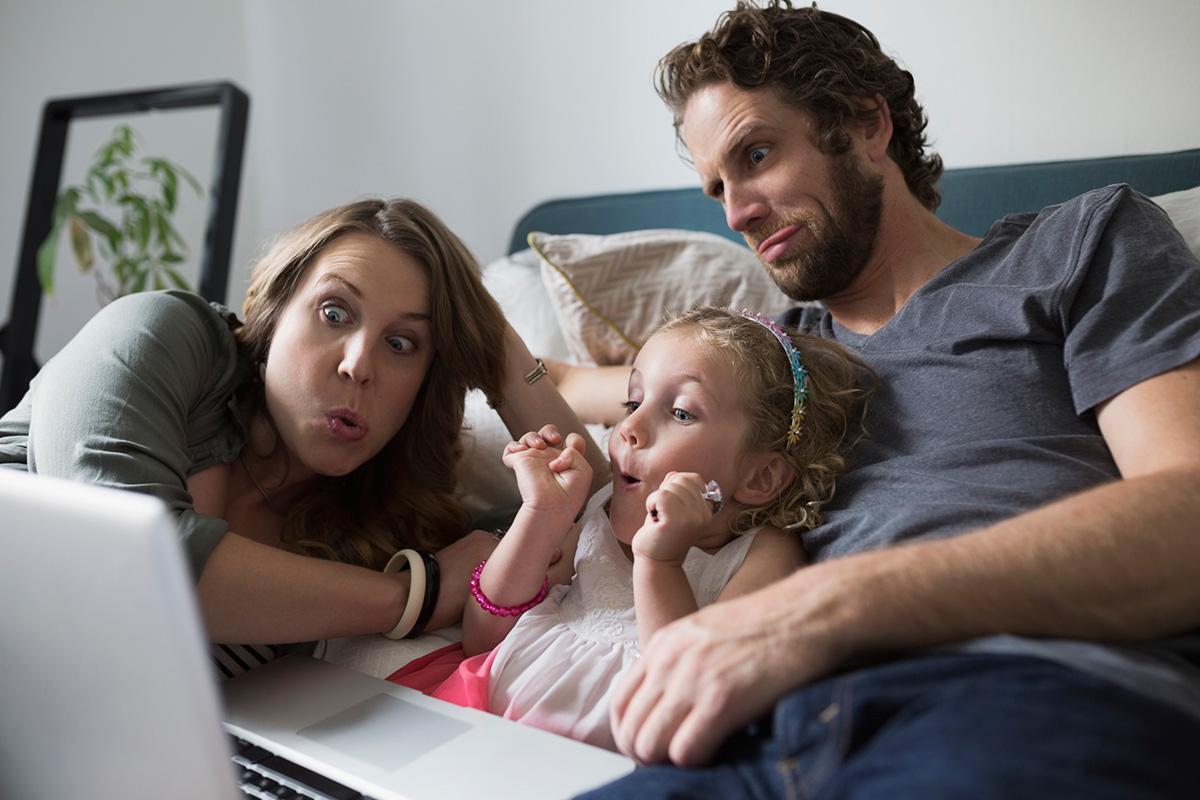 A family using a web cam